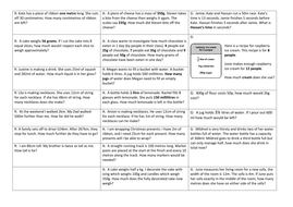 Measure worded problems- Year 3