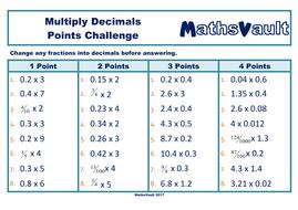Multiply Decimals Points Challenge worksheet