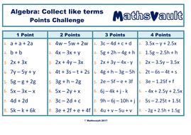 Algebra Collecting Like Terms Points Challenge worksheet