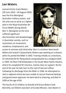 Len Waters Australian  Aboriginal Fighter Pilot Handout
