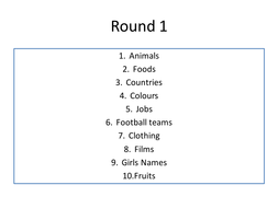 Scattergories Game 4 Rounds Teaching Resources