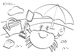 Beach colouring in picture by iChild | Teaching Resources