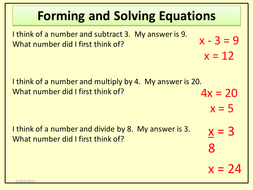 Forming And Solving Equations Worded Questions I Think Of A