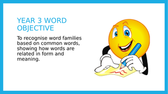 Year 3 SPAG PPT lesson: Word Families