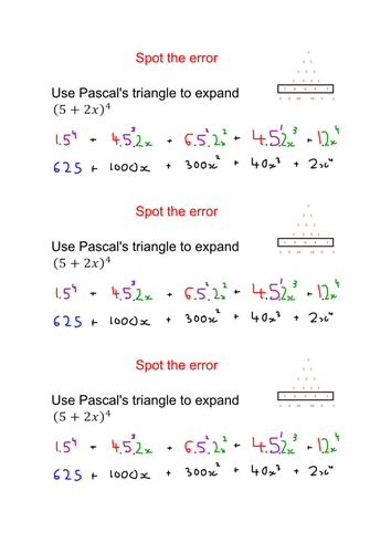Binomial Expansion Core 2, notes and answers and spot the error activity
