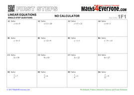 One Step Equations Worksheets With Solutions By Maths4everyone