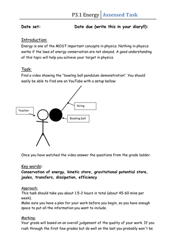 Topic 3 - Differentiated Task - Conservation of Energy