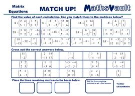 Matrix Equations Match Up Worksheet By Jtodd  Teaching Resources  Matricesequationsmatchuppdf