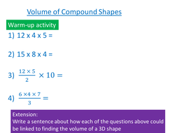 Volume of Compound Shapes | Teaching Resources
