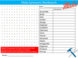 Make Synonyms Wordsearch Starter Activity Design Technology Literacy