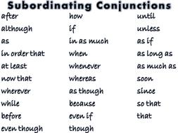 subordinating conjunctions by hajeramiah teaching resources tes