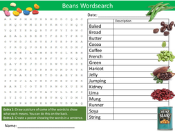 Types of Beans Wordsearch Food Technology Literacy Starter Activity Homework Cover Lesson Plenary