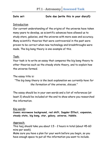 Topic 7 - Differentiated Task - Big Bang and The Steady State
