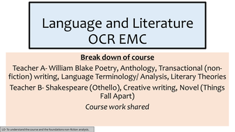 Introducton to AS/A2 English Language (OCR EMC)