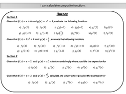 Composite functions - mastery worksheet