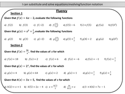 Introduction to function notation - mastery worksheet by joybooth ...