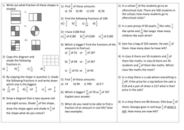 Fractions of an amount differentiated worksheet