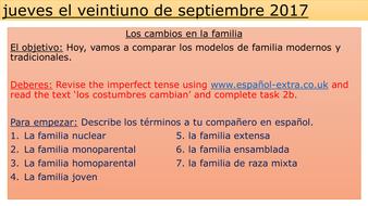 A Level Spanish outline LOS VALORES TRADICIONALES Y MODERNOS