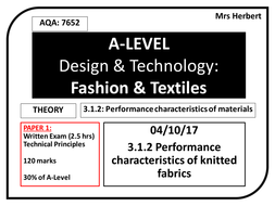 Year 12 Characteristics of knitted fabrics