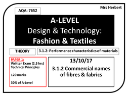 Year 12 Commercial names of fibres & fabrics