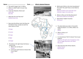 physical features of africa powerpoint