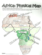 Map Of Africa Worksheets.Lesson 5 Africa S Physical Features Ks3 Geography Africa Unit