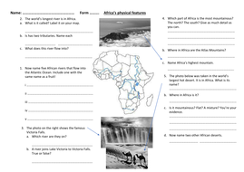 Teach English Worksheets Lesson  Africas Physical Features  Ks Geography Africa Unit  Maths Dot To Dot Worksheets Pdf with Cbt For Children Worksheets Excel Africasphysicalfeaturesworksheet  Sickle Cell Mutation Worksheet Answers
