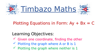Plotting Graphs of Ax + By = C by TimbazoMaths | Teaching