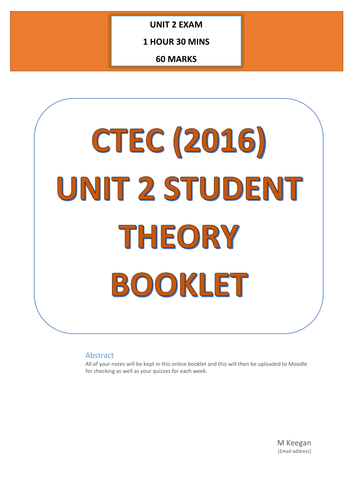 CTEC Business Unit 2 2016 Workbook