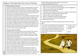 8---Religious-Teachings-About-the-Nature-of-Families-Islam-Worksheet.docx