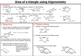area of a triangle using trigonometry mastery worksheet by joybooth teaching resources tes. Black Bedroom Furniture Sets. Home Design Ideas
