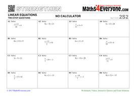 Two-step Equations (Worksheet Bundle) by Maths4Everyone - Teaching ...