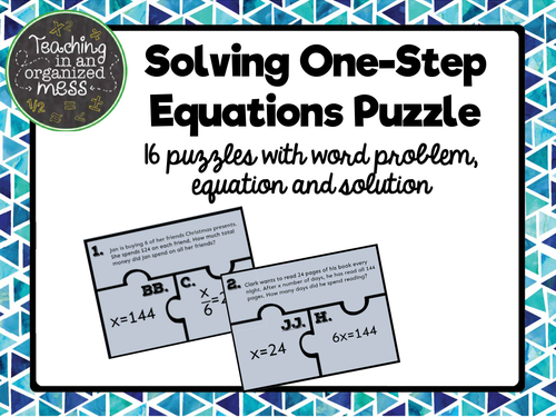 Solving One Step Equations with Word Problems Puzzle by randistowe ...
