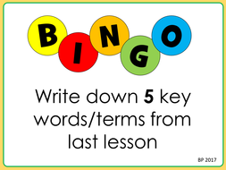 Cross Curricular Literacy - Key Terms Bingo STARTER or PLENARY! Fun and Interactive!