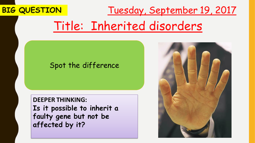 AQA new specification-Inherited disorders-B13.9