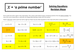 Maths Mastery - Solving Linear Equations Maze (Full answers included)