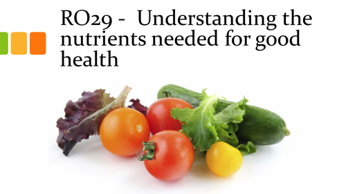 Cambridge National Health and social care RO29 Understand the nutrients needed (LO1)