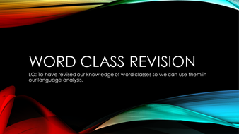 KS3 Word Class Revision Lesson
