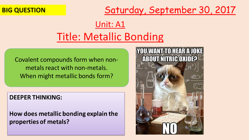 Pearson BTEC New specification-Applied science-Unit 1-Metallic Bonding