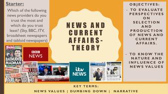 AQA A2 Sociology- Mass Media: News values (theory)
