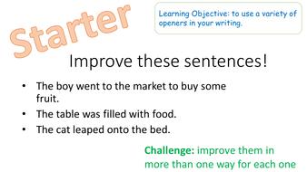 good sentence starters for descriptive writing