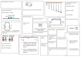 Forces revision mat from KS3