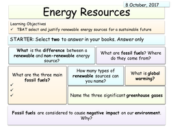 New AQA Physics (Energy unit) - Energy Resources
