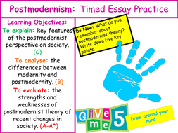 Postmodernist Perspective On Society  Sociological Theory By   Lpostmodernisttimedessaypowerpointpptx