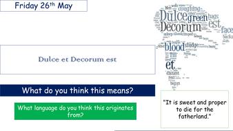 Dulce et Decorum est Outstanding lesson