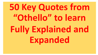Othello Quotes   50 Key Quotes From Othello To Support Aqa A Level Tragedy By