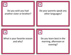 ESL/EFL TASK CARDS - Conversation Starters (Grades 7-12)