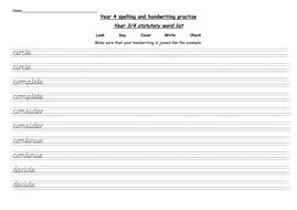Year 4 statutory words handwriting practise worksheets