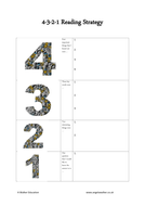 4-3-2-1 strategy reading comprehension sheet by
