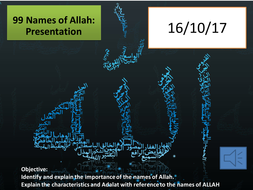 Lesson 4 A Level Islam resources Six beliefs 99 names of Allah with